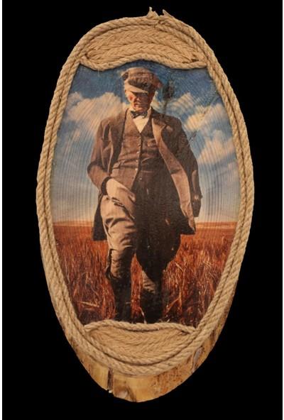 Ahşap Transfer Baskı Mustafa Kemal Atatürk Portresi