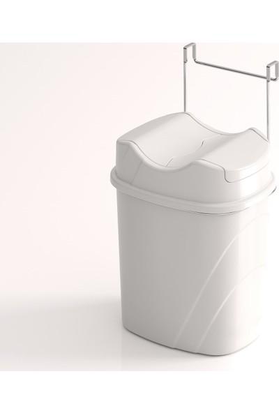 Teknotel Dolap İçi Askılı Yutan Kapak Çöp Kovası Krom + Beyaz Kova