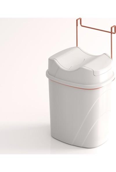 Teknotel Dolap İçi Askılı Yutan Kapak Çöp Kovası Bakır + Beyaz Kova