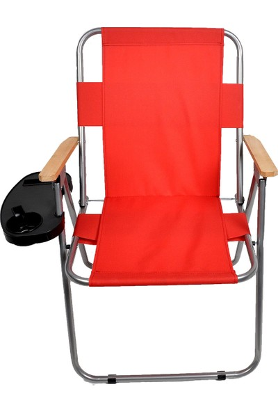 Byeren Ağaç Kollu Piknik Sandalyesi Kırmızı - Bardaklık Aparatlı