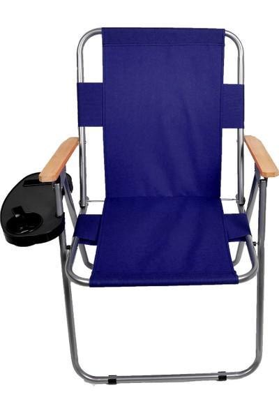 Byeren Ağaç Kollu Piknik Sandalyesi Lacivert - Bardaklık Aparatlı