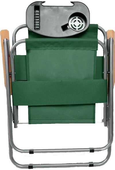 Byeren Ağaç Kollu Piknik Sandalyesi Yeşil - Bardaklık Aparatlı