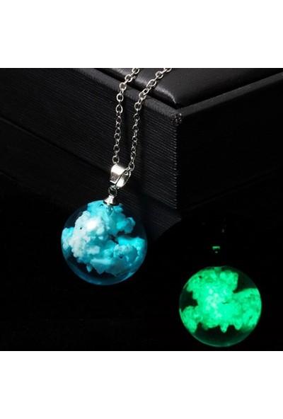 Fosforlu Mavi Bulut Neon Karanlıkta Parlayan Küre Zincirli Kolye