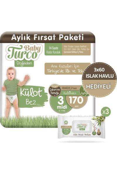 Baby Turco Doğadan Külot Bez 3 Numara Midi 170 Adet + 3X60 Doğadan Islak Havlu Hediyeli