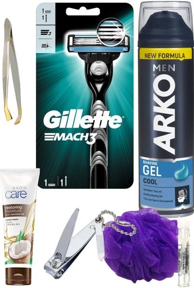 Gillette Mach3 Tıraş Makinesi + Arko Tıraş Jeli Cool 200 ml Erkek Tıraş ve Bakım Seti 7 Parça