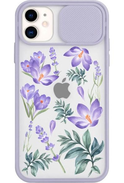 Spoyi iPhone 11 Uyumlu Slayt Kamera Lens Korumalı Kış Çiçeği Tasarımlı Lila Telefon Kılıfı