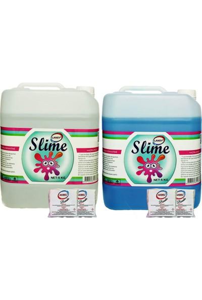 Lansy Zıp Zıp Slime 2 Renk Şeffaf 5 kg + Mavi 5 kg + Boraks