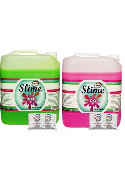Lansy Zıp Zıp Slime 2 Renk Yeşil 5 kg + Fosforlu Pembe 5 kg + BORAKS869744231673