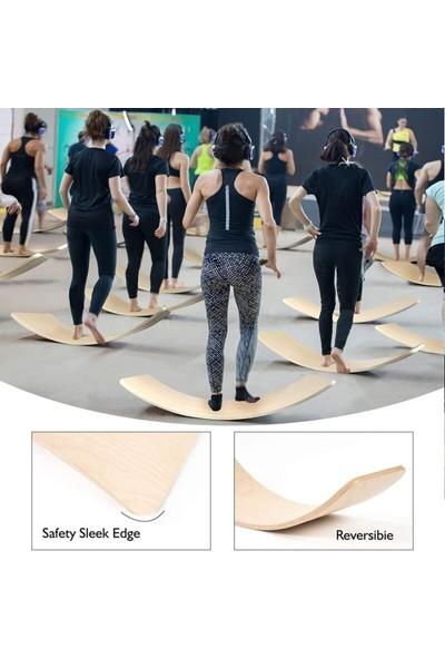 Depolife Denge Tahtası Balance Board Yoga Spor Egzersiz Fitnes Platformu 90X30CM Naturel Kontraplak Depolife