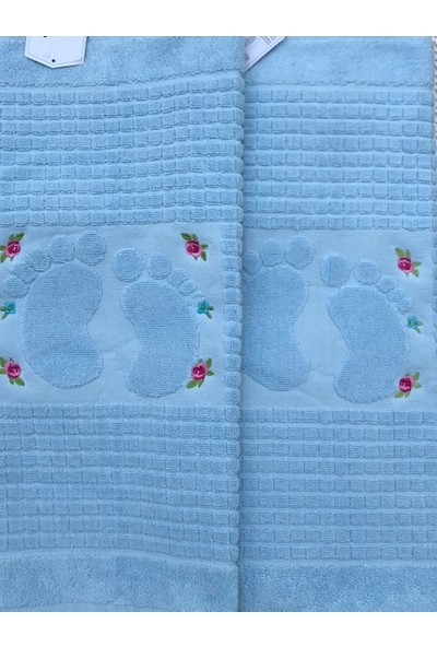 Durul 2 Adet Pamuk Nakışlı Ayak Havlusu 50X70 Mavi