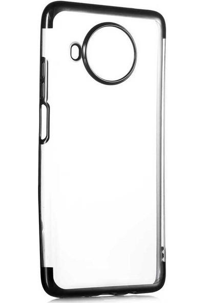 Case 4U Xiaomi Redmi Note 9 Pro 5G / Mi 10T Lite Kılıf 4 Köşeli Renkli Lazer Silikon Arka Kapak - Glitter Siyah