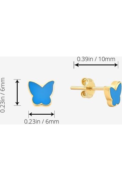 Gelin Pırlanta 14 Ayar Altın Mavi Kelebek Küpe