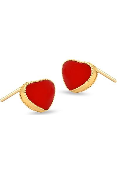 Gelin Pırlanta 14 Ayar Altın Kırmızı Kalp Küpe