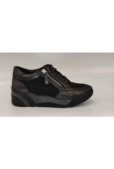 Pepita 8341 Yüksek Taban Simli Günlük Deri Kadın Ayakkabı