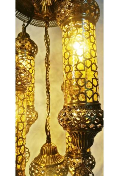 Otantik Osmanlı Pirinç 5li Sarkıt Avize Sarı