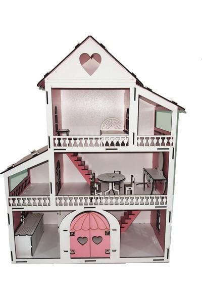 Emay Center Işıklı, Demonte Ahşap Orta Boy Kapılı Mobilyalı Prenses Oyun Evi Maket Ev Barbie Tarzı - Pembe