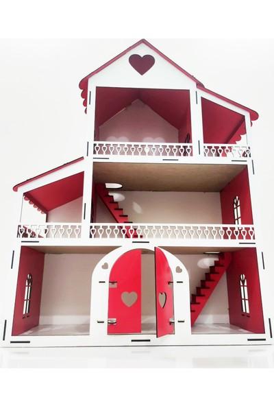 Emay Center Işıklı, Demonte Ahşap Büyük Boy Kapılı Mobilyalı Prenses Oyun Evi Maket Ev Barbie Tarzı - Kırmızı