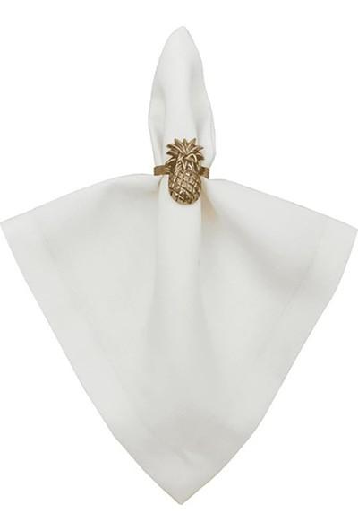 Zeren Home Simsiz Keten Dertsiz Kumaş Servis Peçetesi 6'lı Set Beyaz