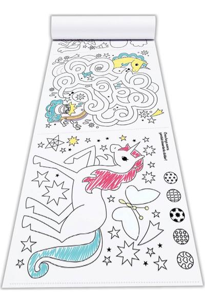 Popseker Unicorn Magic Upuzun Çöz, Çiz, Boya Aktivite ve Boyama Rulosu 60 cm x 5 Metre Dev Boy