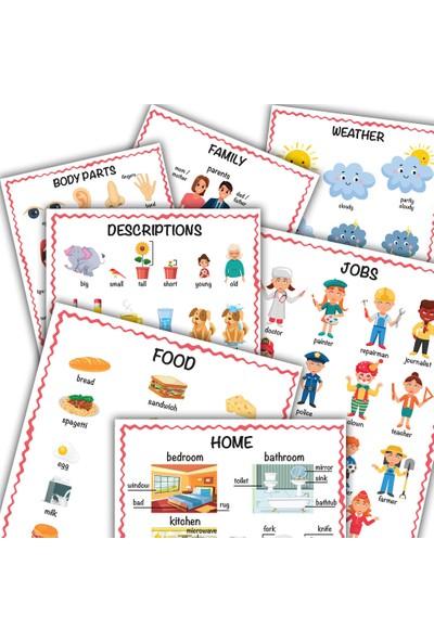 Popseker Eğitici 20 Konu 350 + Kelime Ingilizce Türkçe Ilk Kelimelerim Görsel Hafıza Poster Seti 24 x 33 cm 20'li