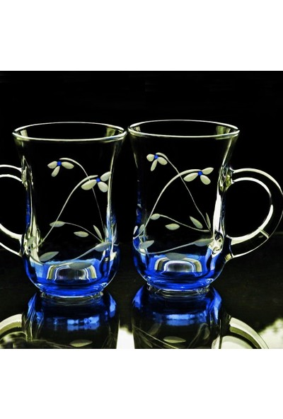 Başak Paşabahçe 55411 Kulplu Papatya(Mavi) Bardak 12 Adet