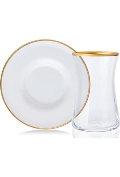 sembol Zücev 12 Parça Yaldızlı Cam Çay Bardak Takımı Beyaz/gold