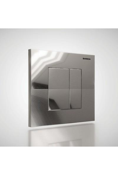 Sanica Rezervuar Panel Takımı Parlak Krom Boyalı P03 21 x 18 cm