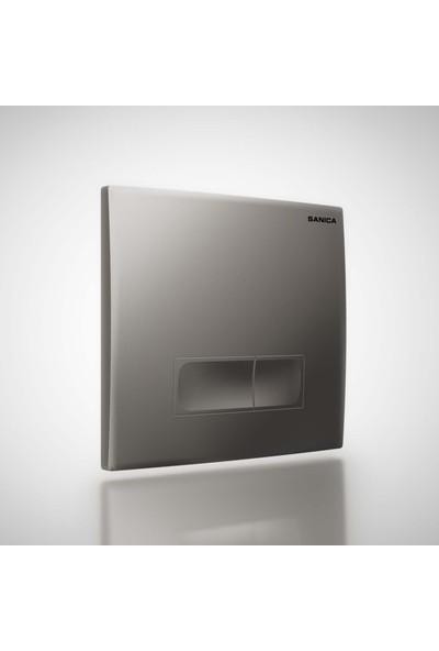 Sanica Rezervuar Panel Takımı P04 Mat Krom Kaplama 21 x 18 cm