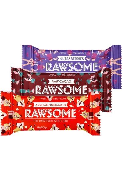 Rawsome Elma Tarçın - Kakao - Karışık Kuruyemişli Bar 40 gr x 3