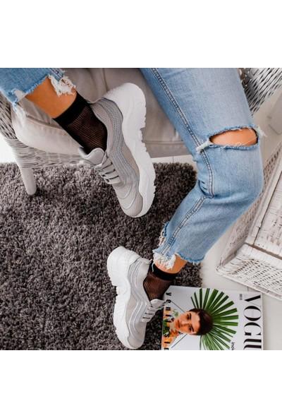 Limoya Jaelynn Gri Kalın Tabanlı Casual Spor Ayakkabı