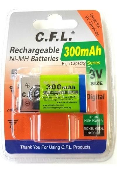 C.F.L. Şarj Edilebilir Pil 9V Kare Pil 300 Mah Ni-Mh Şarjlı Pil C.f.l 6F22