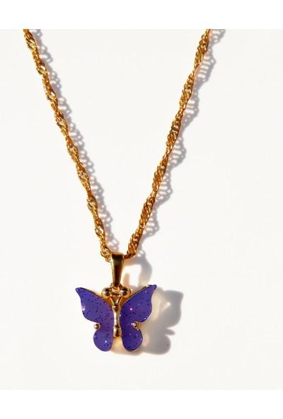 Alışveriş Burada Kelebek Figürlü Kolye - Mor