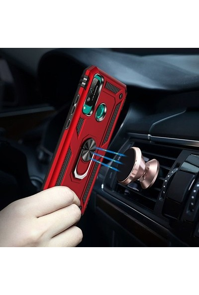 Mobicas Huawei P40 Lite E Kılıf Ultra Korumalı Yüzüklü Manyetik Vega Kapak + Nano Cam Ekran Koruyucu Kırmızı