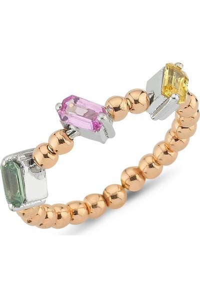 Sira Mücevherat Üç Renk Safir Yüzük - Rose