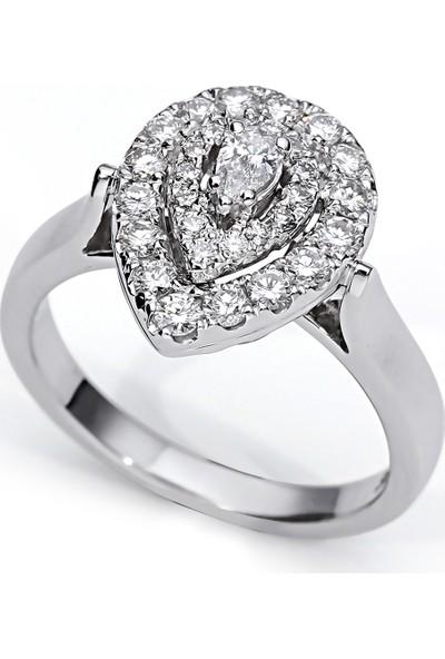 Sira Mücevherat Damla Yüzük - Beyaz Altın