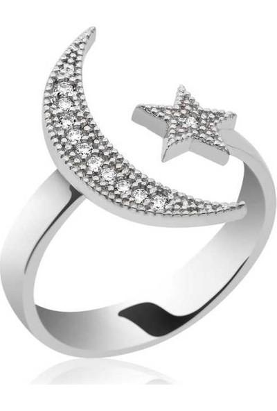Gumush Ay Yıldız Kadın Gümüş Yüzük