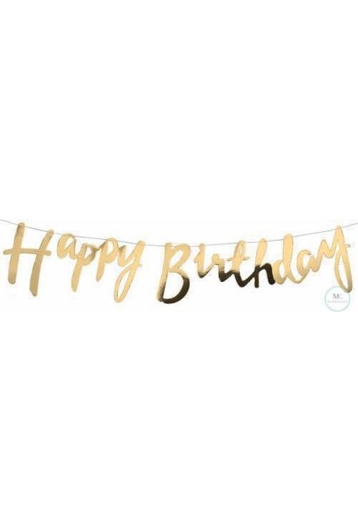 Happy Birthday El Yazısı Banner Flama Gold Renkli