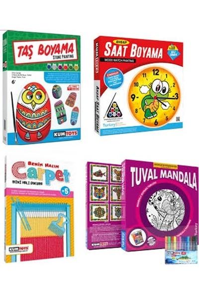 Kumtoys Taş Boyama + Saat Boyama + Halı Dokuma + Tuval Mandala 4'lü Set