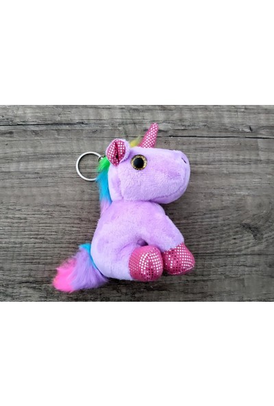 Hd Marketim Unicorn Lila Peluş Silikon Anahtarlık ve Çanta Aksesuarı
