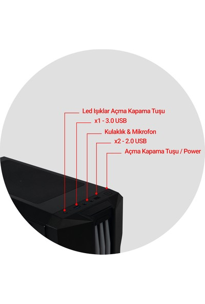 Game Case Gamecase Trio ATX Full Tower Bilgisayar Kasası(PSU Yok)