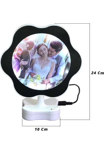 Baskı Adresi Papatya Şeklinde Sihirli Ayna Fotoğraf Çerçevesi (Pil Veya USB ile Çalışır Hepsi Gönderilecektir)