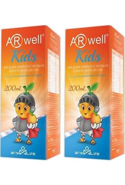 Arwell Kids Betaglukan Vitamin ve Mineraller Sıvı Şurup 200 ml 2'li Paket