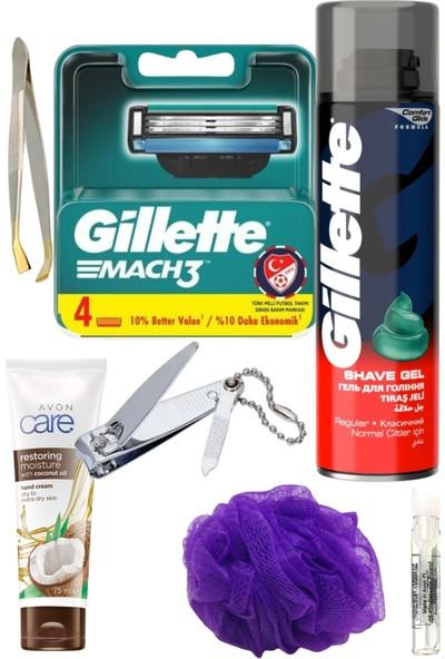 Gillette Mach3 Yedek Tıraş Bıçağı 4'lü + Gillette Tıraş Jeli Normal Ciltler 200 ml Erkek Tıraş ve Bakım Seti 7 Parça