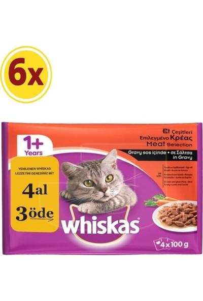Whiskas Yetişkin Kedi Etli Pouch Multipack Konserve Çeşitleri 4X100 gr x 6 Paket