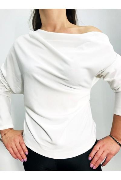 Hot Fashion Kayık Kaya Yandan Büzgülü Bluz
