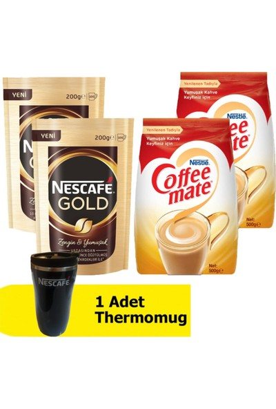 Nestle Gold 200 gr 2'li + Coffee Mate Kahve Kreması 500 gr 2'li + Thermomug
