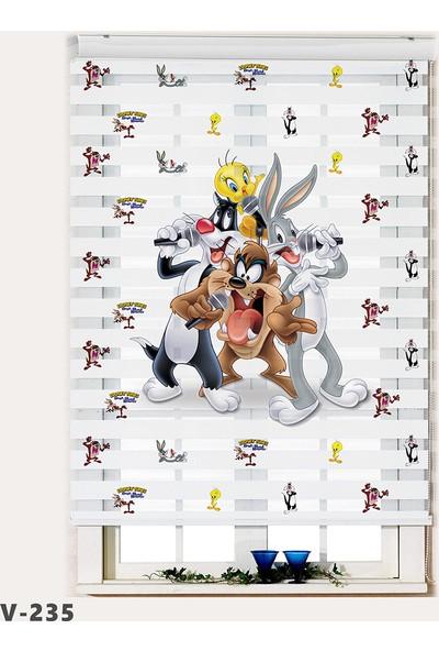 Avart Digital Tweety ve Sylvester Baskılı Çocuk Odası Perdesi Zebra Perde