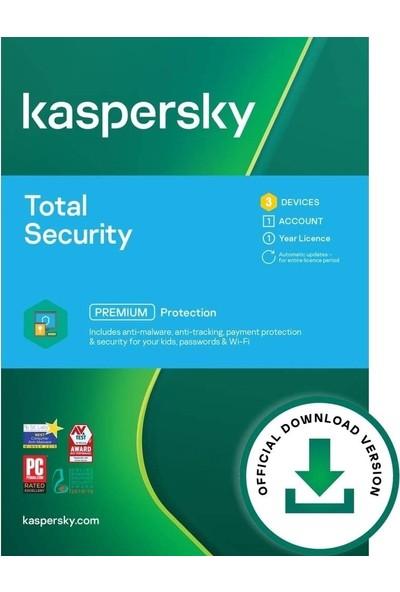 Kaspersky Total Security 2021 3 Cihaz 1 Yıl Pc/mac/android Dijital Kod