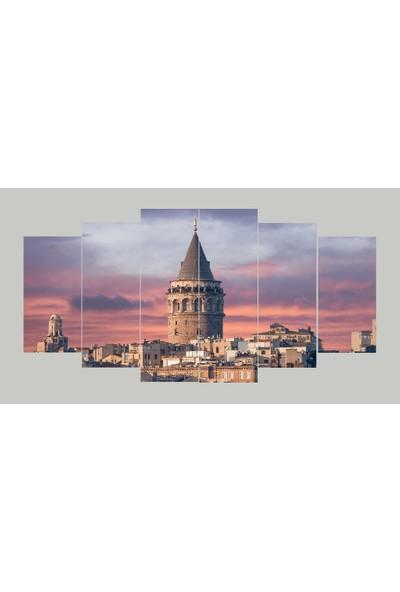 Renk Vagonu Galata Kulesi 6 Parça Mdf Tablo