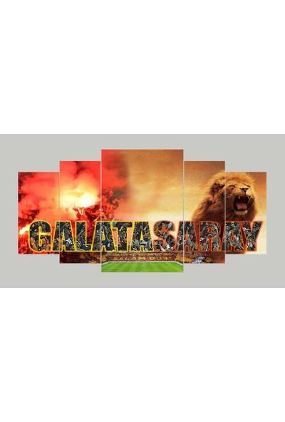 Renk Vagonu Galatasaray Aslan Selamdur Temalı 6 Parça Mdf Tablo